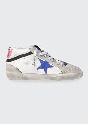 Golden Goose Mid-Top Denim Leather Skater Sneakers