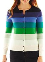 Liz Claiborne Long-Sleeve Ombre Striped Cardigan Sweater