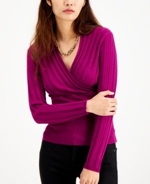 INC International Concepts Inc Petite Ribbed Surplice-Neck Top, Created for Macy's