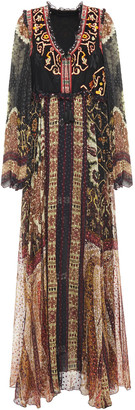 Etro Open-back Embroidered Floral-jacquard And Fil Coupe Chiffon Maxi Dress