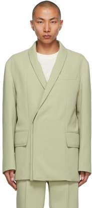 Wooyoungmi Green Concealed Double-Breasted Blazer