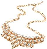 Front Row Gold Colour Glass Pearl Necklace of Length 50cm