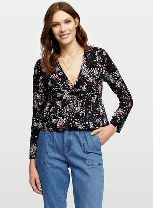 Miss Selfridge Black Bunny Tie Front Floral Print Blouse