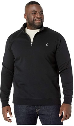 Polo Ralph Lauren Big & Tall Quarter Zip Double Knit Sweater (Polo Black) Men's Clothing