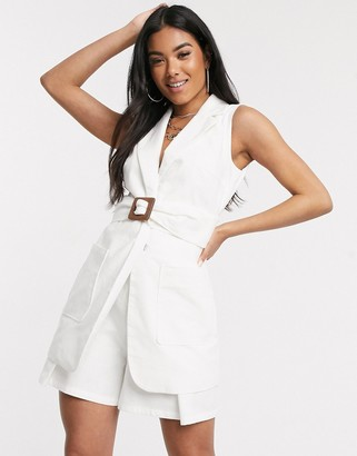 4th + Reckless 4th & Reckless belted sleeveless blazer in white