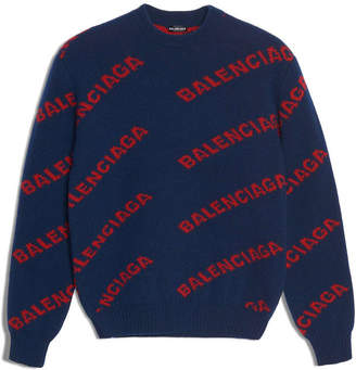 Balenciaga Crew Long Sleeves Knit Multi Logo