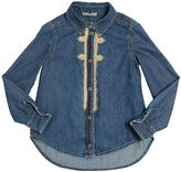 Ermanno Scervino Cotton Chambray Shirt With Lace Detail