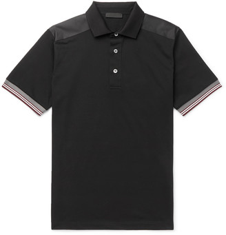 Prada Slim-Fit Nylon-Trimmed Cotton-Pique Polo Shirt