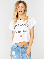The Laundry Room Friday Love Crop Rolling Tee in White