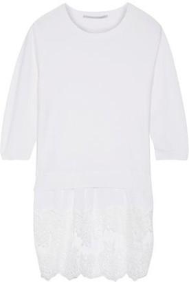 Stella McCartney Washed Silk And Lace-paneled Wool Sweater