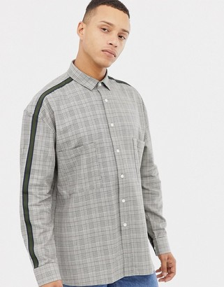 Asos Design DESIGN relaxed check shirt with drop shoulder and tape detail-Brown