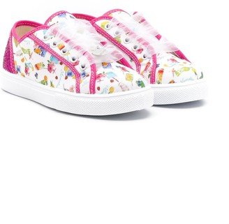 MonnaLisa Graphic-Print Lace-Up Sneakers