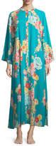 Natori Saipan Zip-Front Floral-Print Caftan