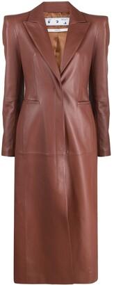 Off-White Padded Shoulder Leather Coat