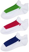 Ralph Lauren Double Tab Micro Contrast Mesh Ankle Socks, Set of 3