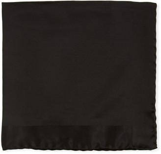 Tom Ford Tonal Border Silk Pocket Square, Black