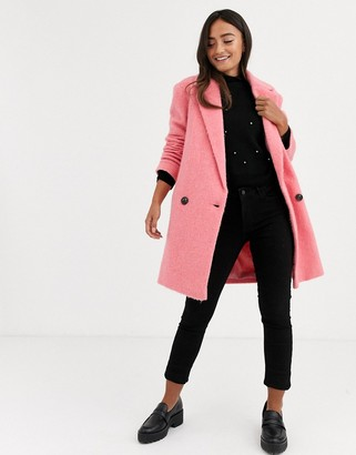 Asos DESIGN longline brushed oversized coat in pink