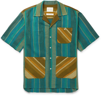 Nicholas Daley - Camp-Collar Striped Cotton-Blend Canvas Shirt - Men