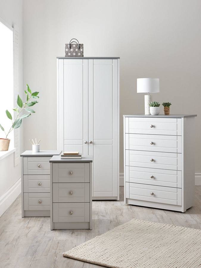 Thumbnail for your product : Very Alderley Ready Assembled 4 Piece Package - 2 Door Wardrobe, Chest Of 5 Drawers And 2 Bedside Chests