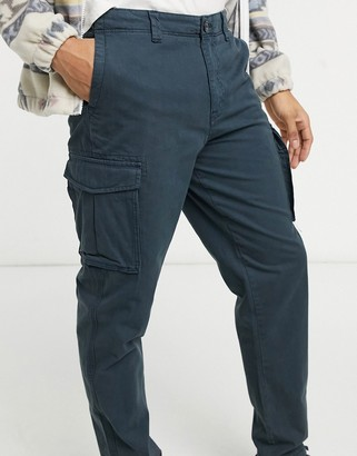Selected cargo pants with cuffed hem in navy