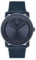 Movado 42mm Bold Watch with Leather Strap, Navy