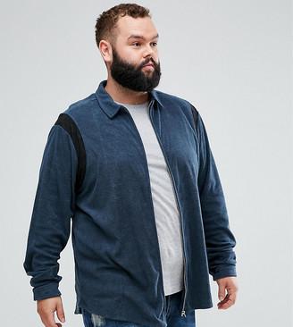 Asos Design DESIGN Plus regular fit zip through towelling shirt in navy