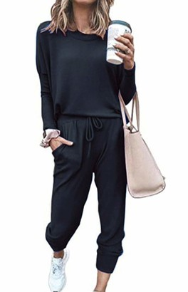 Smile Fish Women's 2pcs Long Sleeve Tracksuit Casual Pullover Tops and Drawstring Pants Outfits Sets Jumpsuit(0521Black S)