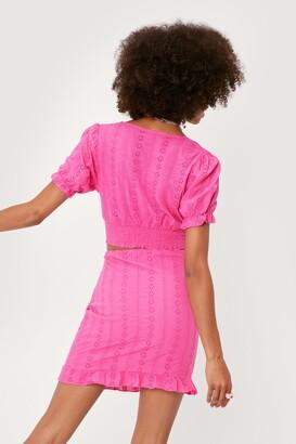Nasty Gal Womens Broderie Anglaise Ruffle Hem Mini Skirt - Pink - 12