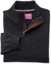 Charles Tyrwhitt Charcoal Cashmere Zip Neck Jumper Size XS