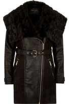 River Island Womens Black faux suede belted coat