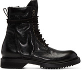 Rick Owens Black Cracked Low Army Boots