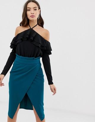 Girl In Mind cold shoulder frill bodysuit