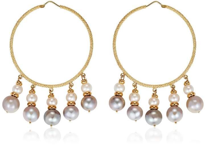 Carolina Bucci Medium Hoops W/ Pearls