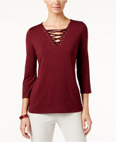 INC International Concepts Velvet-Trim Lace-Up Top , Only at Macy's
