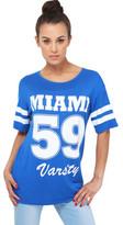 Clothing Women short-sleeved t-shirts Krisp Miami' Print Baseball T-shirt Blue Miami' Print Baseball T-shirt Blue