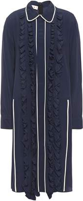Marni Ruffle-trimmed Crepe De Chine Shirt Dress