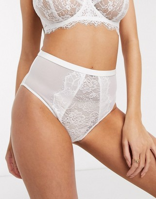 Figleaves Pulse eyelash lace high waist brief in white