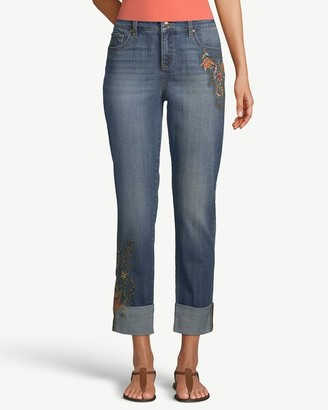 So Slimming Floral Embroidered Girlfriend Ankle Jeans