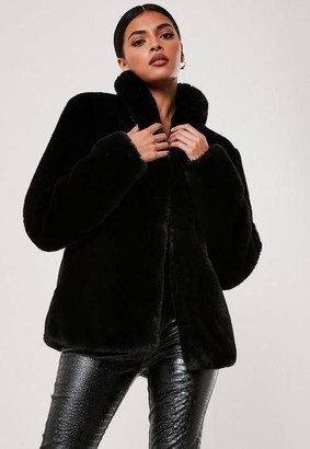 Missguided Black Shawl Collar Faux Fur Coat
