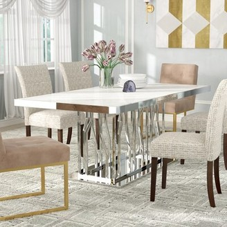 Everly Quinn Altus Marble and Stainless Steel Dining Table