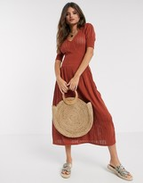 Y.A.S short sleeve chevron knit midi dress in rust