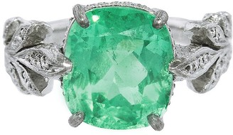 Cathy Waterman Emerald Leafside Platinum Ring