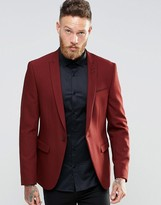 Asos Skinny Blazer In Red With Peak Lapel
