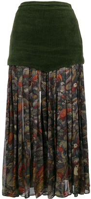 Versace Pre Owned Floral Pleated Midi Skirt