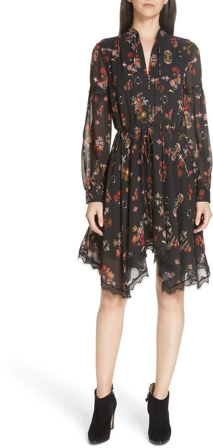 Derek Lam 10 Crosby Floral Handkerchief Hem Silk Dress