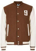 Topman Toffee Brown Wool Blend Varsity Jacket