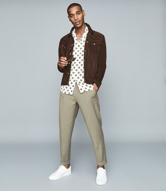 Reiss Joss - Medallion Printed Cuban Collar Shirt in White