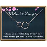 Sannyra Mother Daughter Necklace 2 Interlocking Infinity Double 2 Circles Pendants Necklace Mothers Day Jewelry Birthday Gifts Mom for Women