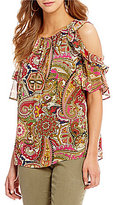 Gibson & Latimer Paisley Printed Cold Shoulder Blouse