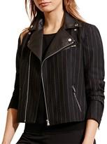 Lauren Ralph Lauren Pinstripe Moto Jacket